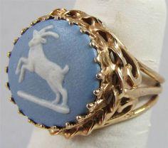Beautiful Antique 10K Gold Wedgwood Blue Jasper Ring Size 5    543