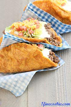 Doritos Locos Taco Bell copycat Recipe by 1 Fine Cookie     http://www.1finecookie.com/2012/08/homemade-doritos-locos-taco-bell-recipe-yes-it-happened/#