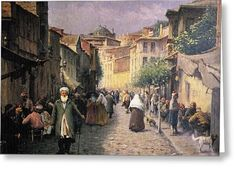 Fausto Zonaro Street Scene Greeting Card by Eastern Accents