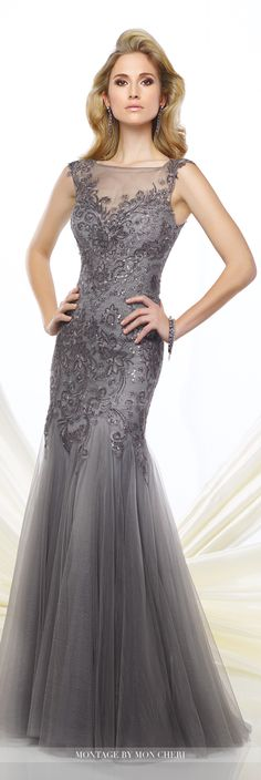Formal Evening Gowns by Mon Cheri - Fall 2016 - Style No. 216964 - gray metalliac lace trumpet evening gown with slight cap sleeves
