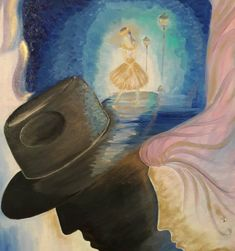 A woman dancing on the brim of a man's hat The same woman nearby.  /oil on canvas /golden dust /gemstone /zirconium /50x40x1.5