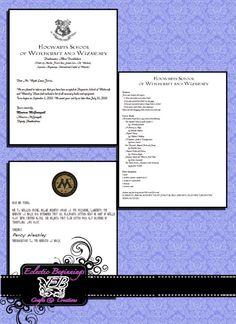 Harry Potter Custom Hogwarts Acceptance Letter Digital Files, DIY Print
