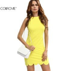 Yellow Mock Neck Sleeveless Hollow Out Bodycon Shirt Dress Solid Club