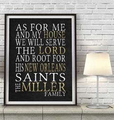 "New Orleans Saints football inspired Personalized Customized Art Print- ""As for Me"" Parody- Unframed Print"