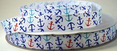 7/8  White Nautical Anchor Ribbon  Printed Grosgrain