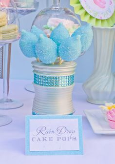 April Showers Birthday Party/Baby Shower:) Raindrop Cake Pops . . .