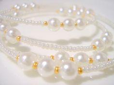 Elegant White Swarovski Pearl and Gold by BeaditudeBoutique