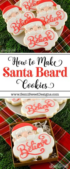Learn how to decorate these Santa beard plaque cookies using royal icing. Perfect for personalized gifts during the Christmas holidays. Santa Cookies, Christmas Sugar Cookies, Iced Cookies, Cute Cookies, Royal Icing Cookies, Cookies Et Biscuits, Holiday Cookies, Cupcake Cookies, Cookie Icing