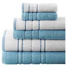 Bring an indulgent touch to your morning routine with this set of cotton towels, featuring textural details and a soft blue hue.  Pr...