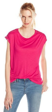 Short Sleeve Raspberry Tee with cut out sleeve detail