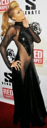 welcome to chikeade's blog: Paris Hilton wears daring sheer gown to Diddy's pre-Grammy party