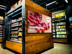Digital sign on refrigerator case in grocery Store Signage, Wayfinding Signage, Signage Design, Sign Solutions, Retail Signs, Building Signs, Restaurant Signs, Digital Signage, Advertising Signs