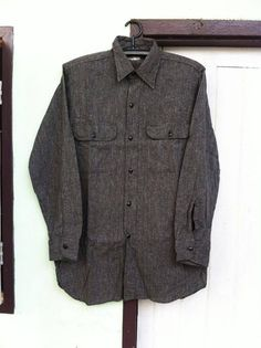 96cf2a8f8ff Vtg.40 s-50 s BIGMAC BLACK CHAMBRAY SHIRT Sz.15 Chambray Shirts