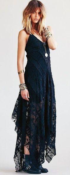 #boho #fashion #spring #outfitideas | Bohemian style black maxi dress