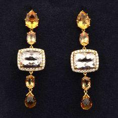 Morganite, Imperial Topaz and Citrine Dangling Diamond Earrings - https://www.hubertgem.com/shop/shop-earrings/morganite-imperial-topaz-citrine-dangling-diamond-earrings/