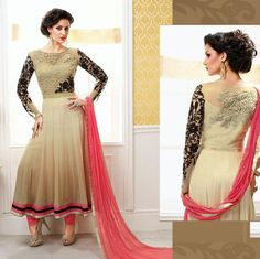 LadyIndia.com # Dress Material, Chiku Georgette Salwar Suit, Salwar Suit, Dress Material, https://ladyindia.com/collections/ethnic-wear/products/chiku-georgette-salwar-suit