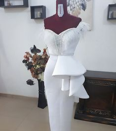 Because whiteeee Dress- African Lace Styles, African Lace Dresses, Latest African Fashion Dresses, African Print Fashion, Elegant Dresses, Beautiful Dresses, Dinner Gowns, Lace Dress Styles, African Traditional Dresses