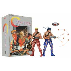 This Contra Bill and Lance Video Game Appearance Action Figure 2-Pack will be a great addition to your action figure collection. This set pays homage to their 8-bit Konami glory days.   They measure about 7-inches tall and have pixelated paint deco looking as if they look like they came right