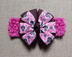 Kanzashi Heasband diadema de flor durazno por GloriaMillerCreation