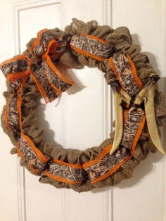 Burlap wreath with Realtree camo and antler monogram!! Love!!!