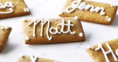 Look at this recipe - Gingerbread Placecard Tags - from Anna Olson and other tasty dishes on Food Network. Anna Olson, Food Network Uk, Food Network Recipes, Cookie Desserts, Cookie Recipes, Yummy Treats, Yummy Food, Christmas Baking, Christmas 2017