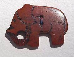 Vintage Carved Elephant Button