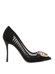 Eden black flocked mesh and jewel pumps | Nicholas Kirkwood | ...@ Matches fashion