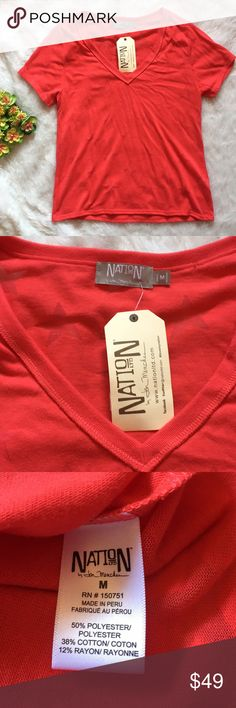 """NATION LTD by Jen Menchaca red star t-shirt NATION LTD by Jen Menchaca. Red with almost see through stars on back and front. Comfy material. NWOT perfect condition! Approx measurements: length 23"""", bust 36"""". So cute with boyfriend or skinny jeans! Please feel free to ask any questions or submit offers :) Nation LTD Tops Tees - Short Sleeve"""