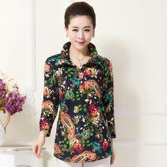 Frete grátis ! Mulheres tamanho Laege soltas de algodão de manga comprida camisa , Feminino médio longo impressão Vintage Moda Blusa XL XXL ...