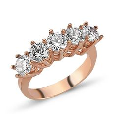 5 stone ring, Rose gold plated, 925k sterling silver