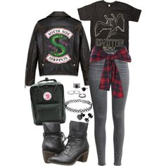 South Side Serpent ;; Riverdale by demiwitch-of-mischief on Polyvore featuring River Island, Fjällräven and Steve Madden