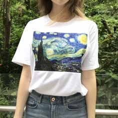 Summer Fashion T Shirt Women Funny Van Gogh Art Oil Painting Starry Night Plus Size Casual Harajuku Short Sleeve Tee Shirt Femme Aesthetic Shirts, Aesthetic Clothes, Aesthetic Women, Van Gogh, Paint Shirts, Diy Vetement, White Cotton T Shirts, Korean Outfits, Korean Clothes