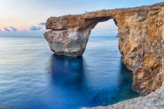 Malta - Azure Window Sunset by AlexandrZavalny #ErnstStrasser #Malta Malta, Windows, Explore, Sunset, Water, Travel, Outdoor, Gripe Water, Outdoors