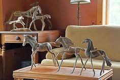FREEDOM horse sculpture driftwood sculpture beach stone