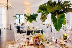 Tropical Chic Miami Wedding by Elaine Palladino - Southern Weddings Tropical Wedding Centerpieces, Tropical Wedding Reception, Tropical Wedding Bouquets, Non Floral Centerpieces, Tropical Floral Arrangements, Punta Cana Wedding, Miami Wedding, Wedding Flowers, Tropical Vases