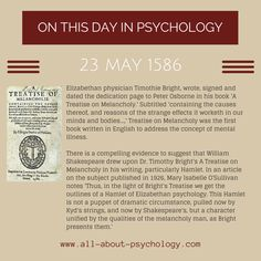 TODAY IN THE HISTORY OF PSYCHOLOGYVia: www.all-about-psychology.com