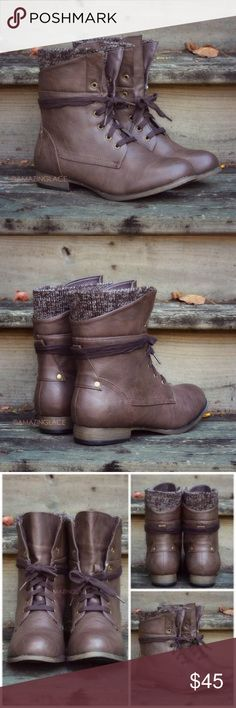 Amazing Lace Brown Sweater Lace-Up Booties Sweater combat booties perfect for fall! In new condition. Never worn! Shoes Ankle Boots & Booties