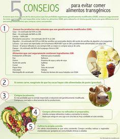 5 consejos para evitar comer alimentos transgénicos. #infografía #transgénicos