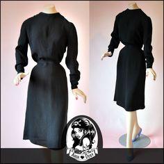 Vintage 1930s Divine Original Art Deco Crepe LBD Covered Button Dress - UK10
