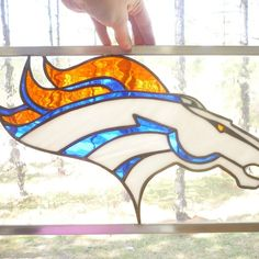 Broncos Sports Stained Glass