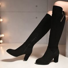 76edc12f849 Womens Black Suede Fabric Round Toe Shoes Knee High Heel Boots Us Size 214  O599 Knee