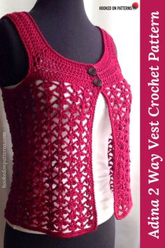 crochet clothes Lace Vest Crochet Pattern - Adina: Crochet a versatile summer over vest top which can be worn either way around, with the opening at the back or front. Crochet Cowl Free Pattern, Crochet Shawl, Knit Patterns, Knit Crochet, Doilies Crochet, Mode Crochet, Lace Vest, Crochet Purses, Crochet Clothes