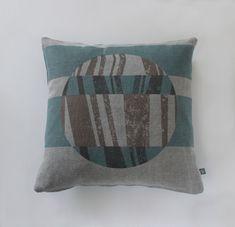 #vintage #stonewashed #distressed #genderneutraldesign #grey&blue #handscreenprinted cushion 'Tectonic BB'