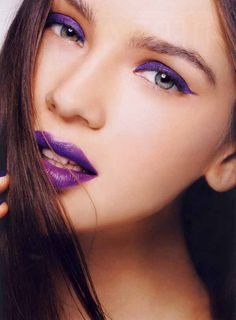 Magazine: Elle Indonesia, November 2011  Title: Playing Mono  Featuring: Olga Yalanskaya    - Mono purple makeup look.