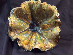 Bowl by Susan Garrett Opulence Emerald with Mayco Cappacino Mint on top cone 6