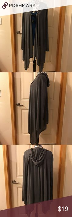 NWOT Hooded Gray Cardigan Duster-length NWOT gray hooded cardigan. Can be dressed up or down! Super cute! (Necklace not included) Tops