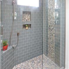 Bali Ocean Pebble Tile Shower Floor with Accents - Subway Tile Outlet Pebble Tile Shower Floor, Subway Tile Showers, Glass Subway Tile, Bathrooms With Subway Tile, Bathroom Tile Showers, Small Tile Shower, Shower Accent Tile, Mosaic Shower Tile, Pebble Tiles