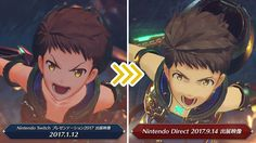 Official Xenobalde Chronicles 2 japanese twitter account shares an image comparing graphics between the january direct and the last one from september.