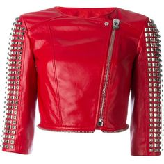 Philipp Plein Airglow Biker Jacket (22 515 SEK) ❤ liked on Polyvore featuring outerwear, jackets, red, cropped biker jacket, red jacket, red motorcycle jacket, collarless biker jacket and moto jacket