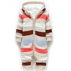 Frbelle Kinder Baby Unisex Overalls Strampler Gestreift Winteroveralls One Piece Jumpsuit Baby Schlafanzug Baumwolle Baby Bekleidung